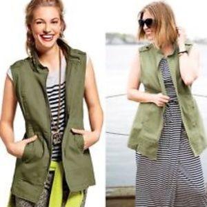 Cabi Explorer Vest Green Full Zip Pockets